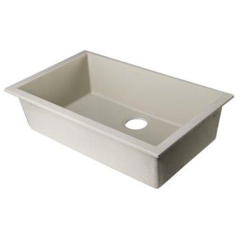 """Alfi brand Biscuit 30"""" Undermount Single Bowl Granite Composite Kitchen Sink, 29-7/8"""" W x 17-1/8"""" D x 8-1/4"""" H"""