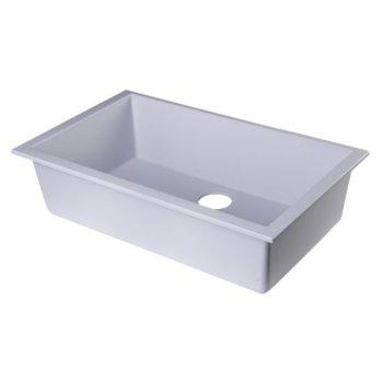 "Alfi brand White 30"" Undermount Single Bowl Granite Composite Kitchen Sink, 29-7/8"" W x 17-1/8"" D x 8-1/4"" H"