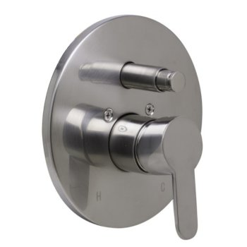 """Alfi brand Brushed Nickel Shower Valve Mixer with Rounded Lever Handle and Diverter, 7-1/8"""" Diameter x 3"""" H"""