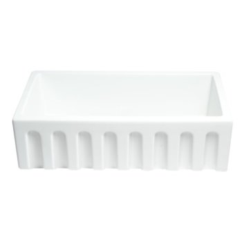 "33"" x 18"" White Fluted Front View"
