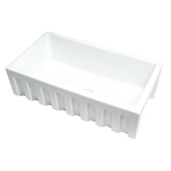 "ALFI brand 33"" x 18"" Reversible Fluted / Smooth Single Bowl Fireclay Farm Sink in White, 31-1/8"" W x 18-1/8"" D x 10"" H"