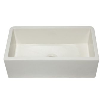 "Alfi brand 33"" Biscuit Smooth Apron Solid Thick Wall Fireclay Single Bowl Farm Sink, 32-1/4"" W x 18-1/4"" D x 10"" H"