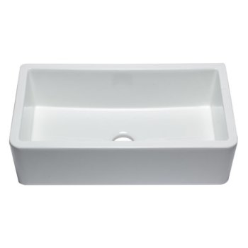 "Alfi brand 33"" White Smooth Apron Solid Thick Wall Fireclay Single Bowl Farm Sink, 32-1/4"" W x 18-1/4"" D x 10"" H"