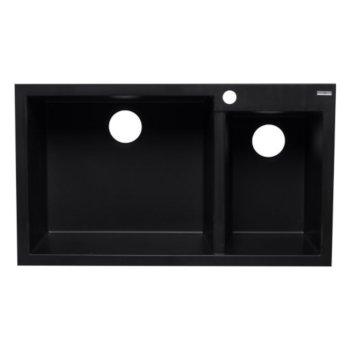 "Alfi brand Black 34"" Double Bowl Drop In Granite Composite Kitchen Sink, 33-7/8"" W x 19-3/4"" D x 8-1/4"" H"