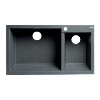 "ALFI brand 34"" Double Bowl Drop In Granite Composite Kitchen Sink in Titanium, 33-7/8"" W x 19-3/4"" D x 8-1/4"" H"