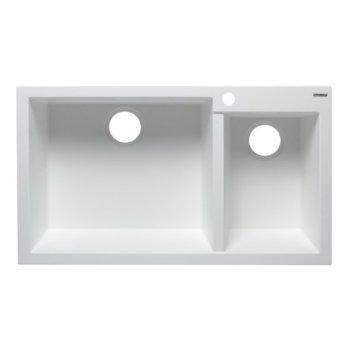 """Alfi brand White 34"""" Double Bowl Drop In Granite Composite Kitchen Sink, 33-7/8"""" W x 19-3/4"""" D x 8-1/4"""" H"""