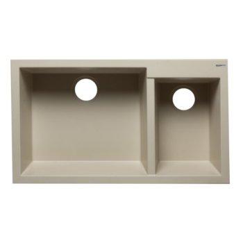 "Alfi brand Biscuit 34"" Double Bowl Undermount Granite Composite Kitchen Sink, 33-7/8"" W x 19-1/8"" D x 8-3/8"" H"