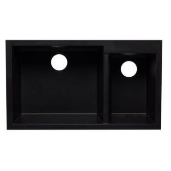 "Alfi brand Black 34"" Double Bowl Undermount Granite Composite Kitchen Sink, 33-7/8"" W x 19-1/8"" D x 8-3/8"" H"
