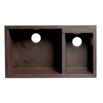 "ALFI brand 34"" Double Bowl Undermount Granite Composite Kitchen Sink in Chocolate, 33-7/8"" W x 19-1/8"" D x 8-3/8"" H"