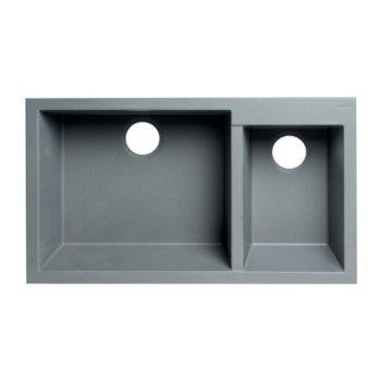 "ALFI brand 34"" Double Bowl Undermount Granite Composite Kitchen Sink in Titanium, 33-7/8"" W x 19-1/8"" D x 8-3/8"" H"
