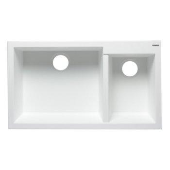 "Alfi brand White 34"" Double Bowl Undermount Granite Composite Kitchen Sink, 33-7/8"" W x 19-1/8"" D x 8-3/8"" H"