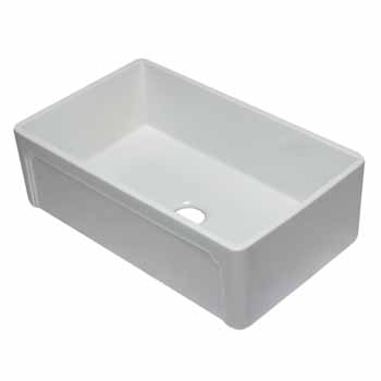 "Alfi brand 33"" White Reversible Single Fireclay Farmhouse Kitchen Sink, 32-5/8"" W x 20-7/8"" D x 9-7/8"" H"