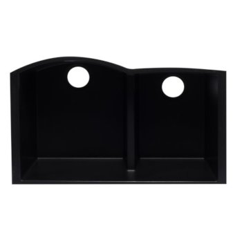 "Alfi brand Black 33"" Double Bowl Undermount Granite Composite Kitchen Sink, 33"" W x 20-3/4"" D x 9-7/8"" H"