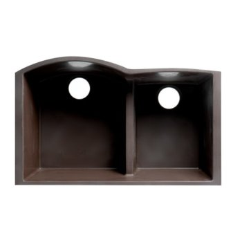 "ALFI brand 33"" Double Bowl Undermount Granite Composite Kitchen Sink in Chocolate, 33"" W x 20-3/4"" D x 9-7/8"" H"