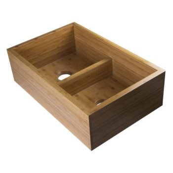 "Alfi brand 33"" Double Bowl Bamboo Kitchen Farm Sink, 32-3/4"" W x 21"" D x 9-7/8"" H"