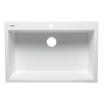 """Alfi brand White 33"""" Single Bowl Drop In Granite Composite Kitchen Sink, 33"""" W x 22"""" D x 9-1/2"""" H"""