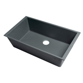"ALFI brand 33"" Single Bowl Undermount Granite Composite Kitchen Sink in Titanium, 33"" W x 19-3/8"" D x 9-7/8"" H"