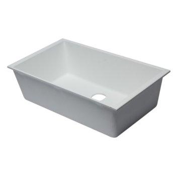 "Alfi brand White 33"" Single Bowl Undermount Granite Composite Kitchen Sink, 33"" W x 19-3/8"" D x 9-1/2"" H"