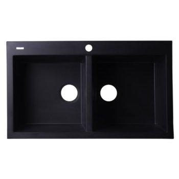 "Alfi brand Black 34"" Drop-In Double Bowl Granite Composite Kitchen Sink, 33-7/8"" W x 20-1/8"" D x 8-1/4"" H"