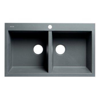 "ALFI brand 34"" Drop-In Double Bowl Granite Composite Kitchen Sink in Titanium, 33-7/8"" W x 20-1/8"" D x 8-1/4"" H"