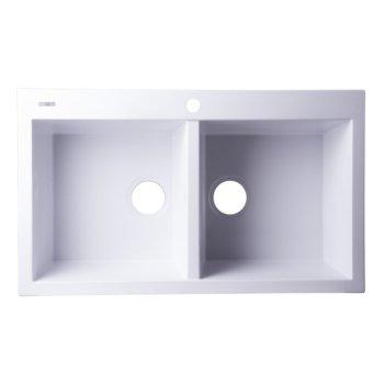 """Alfi brand White 34"""" Drop-In Double Bowl Granite Composite Kitchen Sink, 33-7/8"""" W x 20-1/8"""" D x 8-1/4"""" H"""