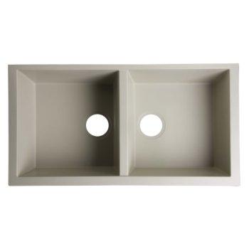 "Alfi brand Biscuit 34"" Undermount Double Bowl Granite Composite Kitchen Sink, 33-7/8"" W x 17-3/4"" D x 8-1/4"" H"