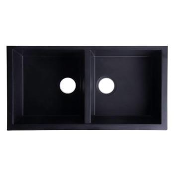 "Alfi brand Black 34"" Undermount Double Bowl Granite Composite Kitchen Sink, 33-7/8"" W x 17-3/4"" D x 8-1/4"" H"