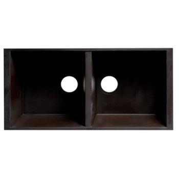 "ALFI brand 34"" Undermount Double Bowl Granite Composite Kitchen Sink in Chocolate, 33-7/8"" W x 17-3/4"" D x 8-1/4"" H"