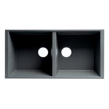 34 ALFI brand AB3420UM-BLA Undercount Double Bowl Granite Composite Kitchen Sink Black