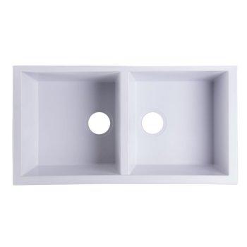 "Alfi brand White 34"" Undermount Double Bowl Granite Composite Kitchen Sink, 33-7/8"" W x 17-3/4"" D x 8-1/4"" H"