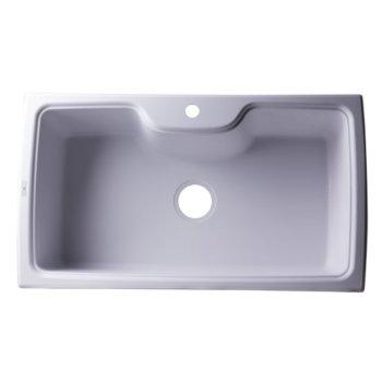 """Alfi brand White 35"""" Drop-In Single Bowl Granite Composite Kitchen Sink, 34-5/8"""" W x 19-11/16"""" D x 9-1/8"""" H"""