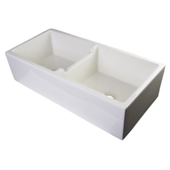 """39"""" Biscuit Smooth Apron Double Bowl Sink"""