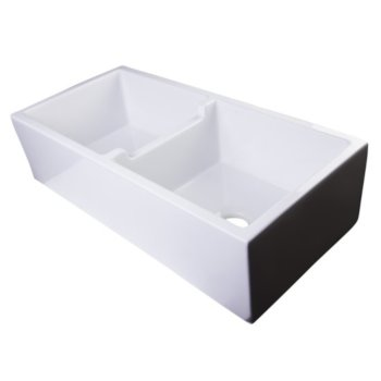"39"" White Smooth Apron Double Bowl Sink"