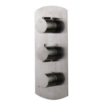 """Alfi brand Brushed Nickel Concealed 4-Way Thermostatic Valve Shower Mixer /w Round Knobs, 12-1/2"""" W x 5-1/4"""" D x 2"""" H"""