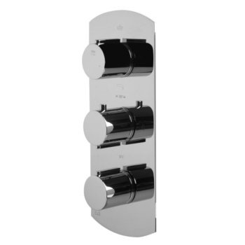 """Alfi brand Polished Chrome Concealed 4-Way Thermostatic Valve Shower Mixer /w Round Knobs, 12-1/2"""" W x 5-1/4"""" D x 2"""" H"""