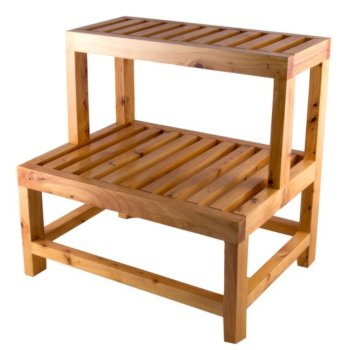 """Alfi brand 20"""" Double Wooden Stepping Stool Multi-Purpose Accessory, 20-1/2"""" W x 15-3/4"""" D x 20-1/2"""" H"""