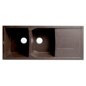 "ALFI brand 46"" Double Bowl Granite Composite Kitchen Sink with Drainboard in Chocolate, 45-3/4"" D x 19-3/4"" W x 9-1/16"" H"