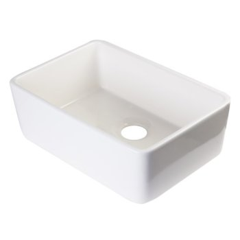 "Alfi brand Biscuit 23"" Smooth Apron  Fireclay Single Bowl Farmhouse Kitchen Sink, 23-3/8"" W x 16-1/8"" D x 8"" H"