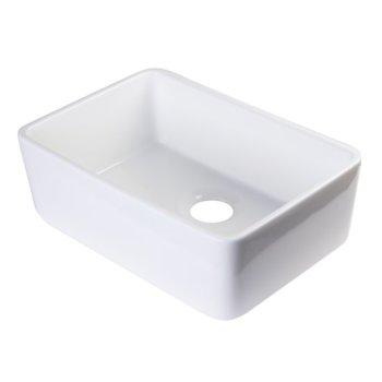 "Alfi brand White 23"" Smooth Apron Fireclay Single Bowl Farmhouse Kitchen Sink, 23-3/8"" W x 16-1/8"" D x 8"" H"