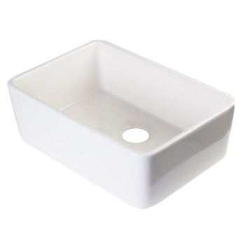 "24"" Biscuit Single Bowl Fireclay Undermount Sink"
