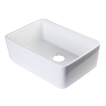 "24"" White Single Bowl Fireclay Undermount Sink"
