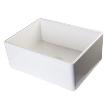 """Alfi brand Biscuit 26"""" Contemporary Smooth Apron Fireclay Farmhouse Kitchen Sink, 26"""" W x 20"""" D x 10"""" H"""