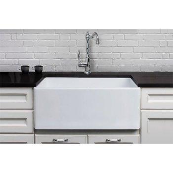 "Alfi brand White 26"" Contemporary Smooth Apron Fireclay Farmhouse Kitchen Sink, 26"" W x 20"" D x 10"" H"