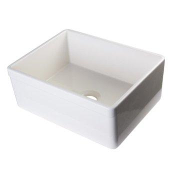 "Alfi brand Biscuit 26"" Decorative Lip Apron Single Bowl Fireclay Farmhouse Kitchen Sink, 26"" W x 20"" D x 10"" H"