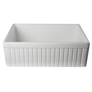 "Alfi brand White 30"" Fluted Apron Single Bowl Fireclay Farmhouse Kitchen Sink, 29-7/8"" W x 19-3/4"" D x 10"" H"