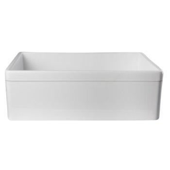 "Alfi brand White 30"" Decorative Lip Apron Single Bowl Fireclay Farmhouse Kitchen Sink, 29-7/8"" W x 19-3/4"" D x 10"" H"