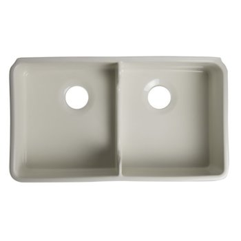 "Alfi brand Biscuit 32"" Short Wall Double Bowl Lip Apron Fireclay Farmhouse Kitchen Sink, 31-3/4"" W x 17-3/4"" D x 8-1/2"" H"