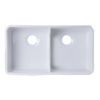 "Alfi brand White 32"" Short Wall Double Bowl  Lip Apron Fireclay Farmhouse Kitchen Sink, 31-3/4"" W x 17-3/4"" D x 8-1/2"" H"