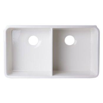 "Alfi brand 32"" Biscuit Double Bowl Fireclay Undermount Kitchen Sink, 32"" W x 18"" D x 8"" H"
