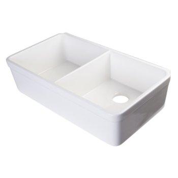 "Alfi brand 32"" White Double Bowl Fireclay Undermount Kitchen Sink, 32"" W x 18"" D x 8"" H"